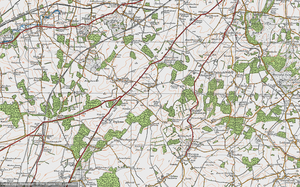 Old Map of Historic Map covering Tidley Hill in 1919