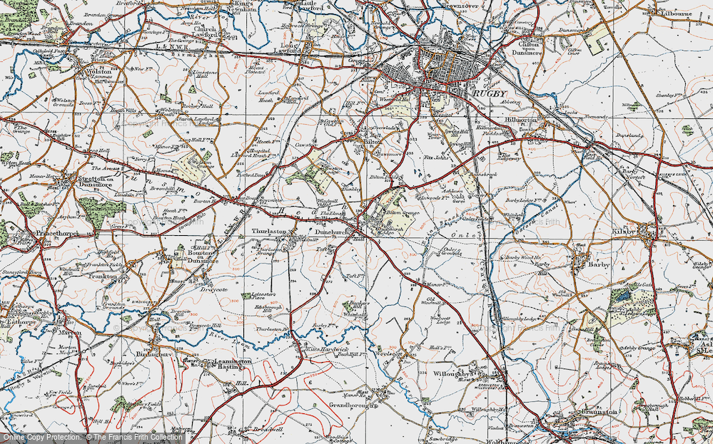 Old Map of Dunchurch, 1919 in 1919