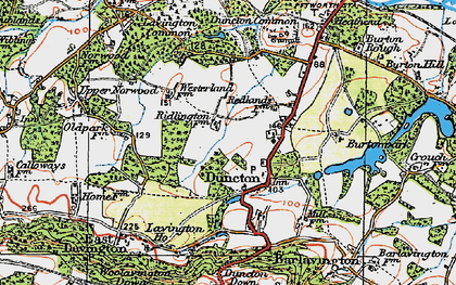 Old map of Duncton in 1920