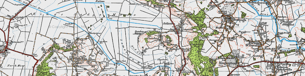 Old map of Dundon in 1919