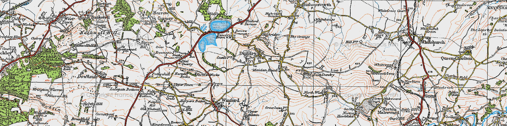 Old map of Dundry in 1919