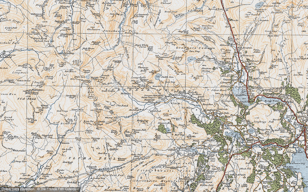 Old Map of Historic Map covering Band, The in 1925