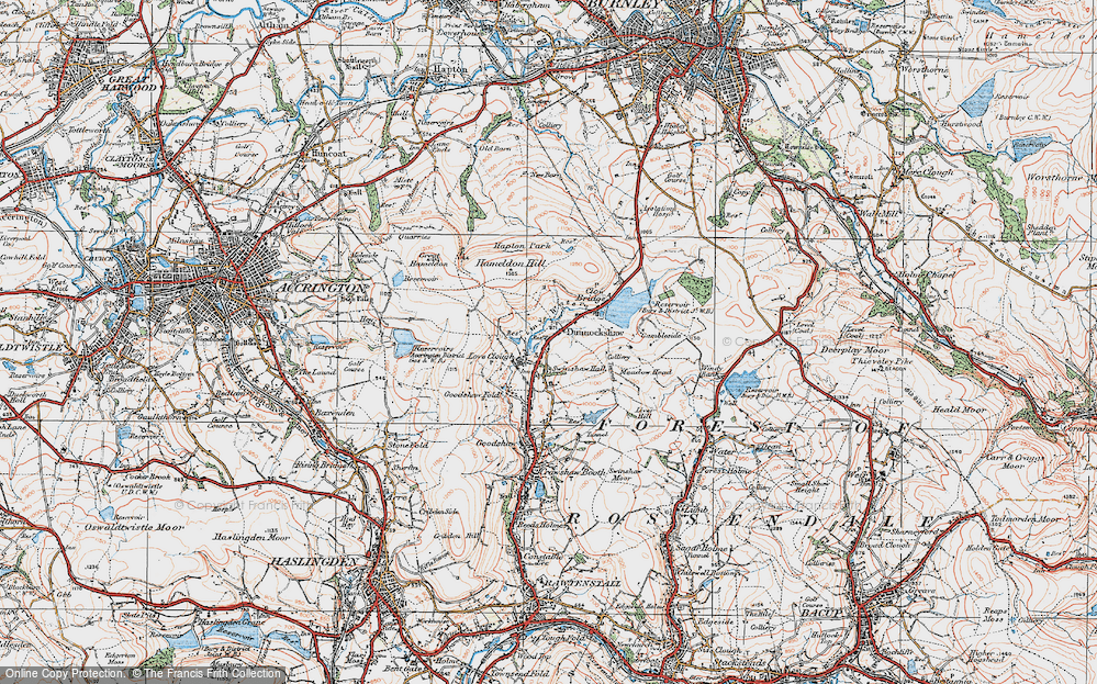 Old Map of Historic Map covering Limy Water in 1924