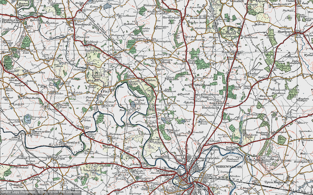 Old Map of Historic Map covering Leaton Shelf in 1921