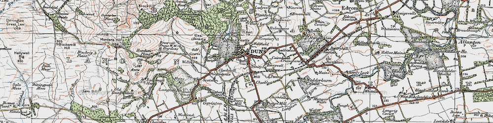 Old map of Duns in 1926