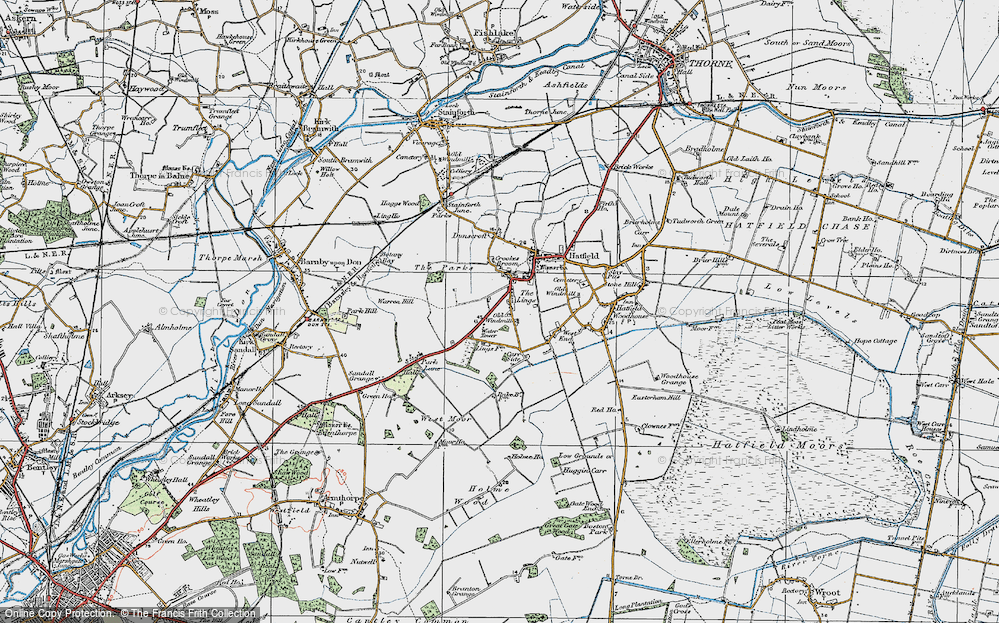 Old Map of Historic Map covering Lings Windmill in 1923