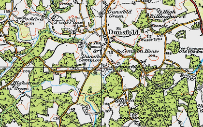 Old map of Dunsfold Common in 1920