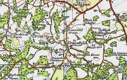Old map of Dunsfold Green in 1920