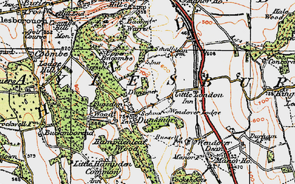 Old map of Bacombe Warren in 1919