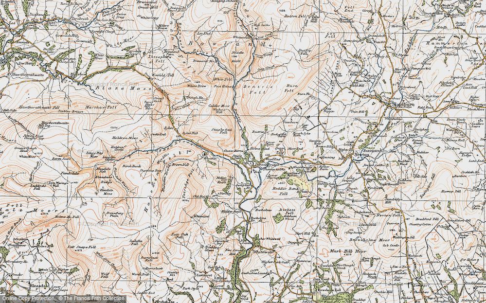 Old Map of Historic Map covering Langden Br in 1924
