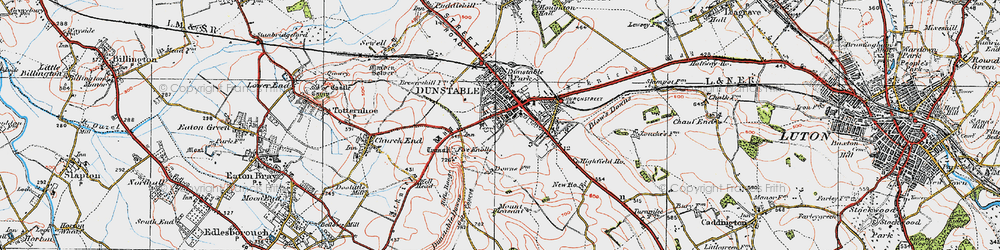 Old map of Dunstable in 1920