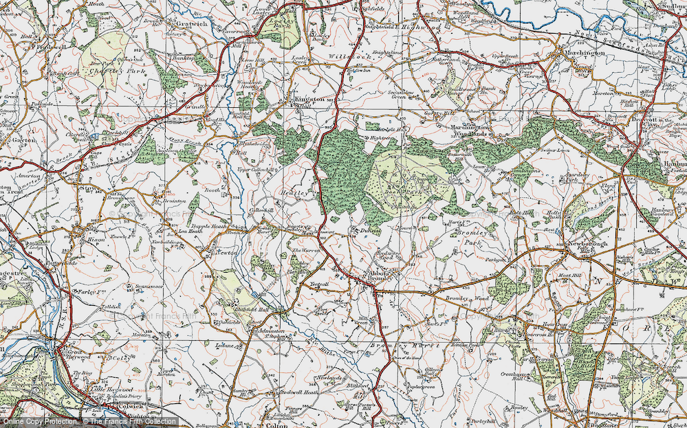 Old Map of Historic Map covering Bagot's Bromley in 1921