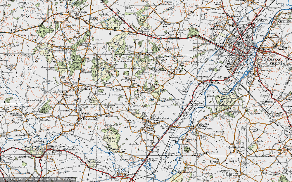 Old Map of Historic Map covering Bannister's Hollies in 1921