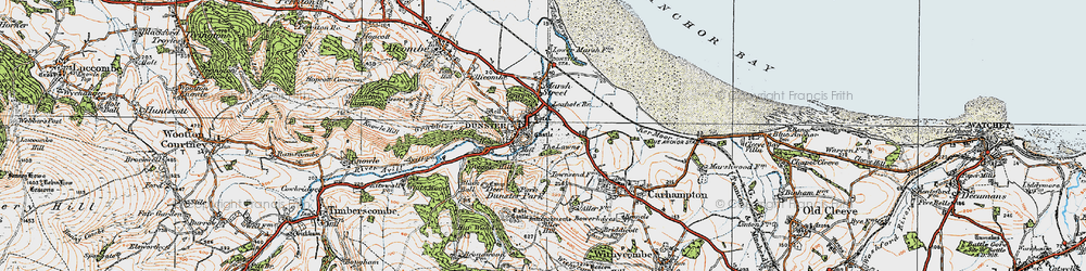Old map of Dunster in 1919