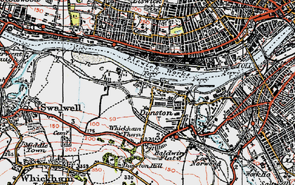 Old map of Dunston in 1925