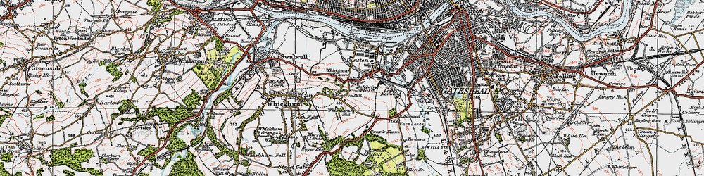 Old map of Whickham Thorns in 1925
