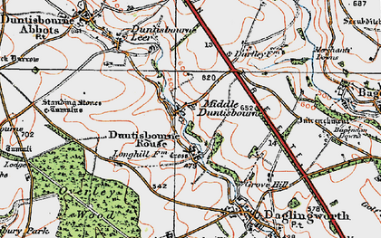 Old map of Duntisbourne Rouse in 1919