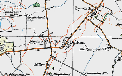 Old map of Dunton in 1919