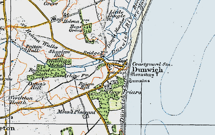 Old map of Dunwich in 1921
