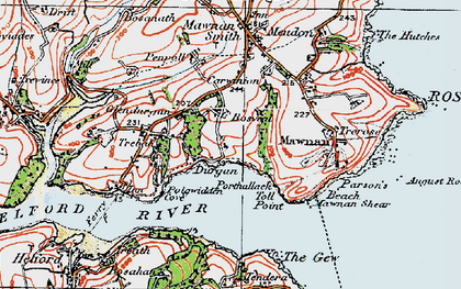 Old map of Durgan in 1919