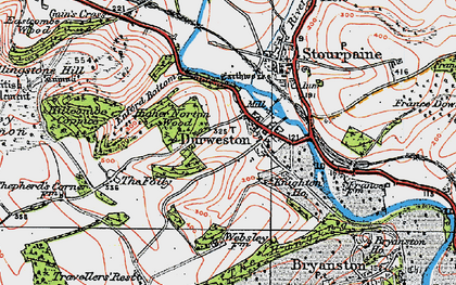 Old map of Durweston in 1919
