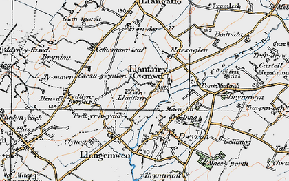 Old map of Dwyran in 1922