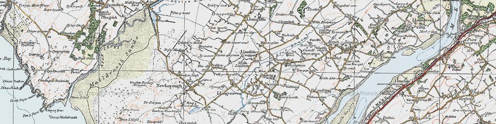 Old map of Dwyran in 1922