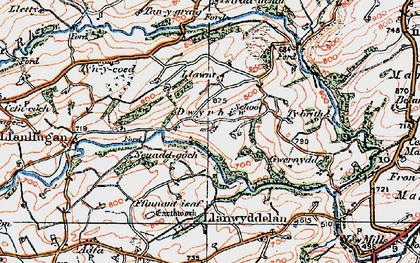 Old map of Lawnt in 1921