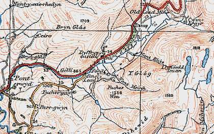 Old map of Afon Castell in 1922