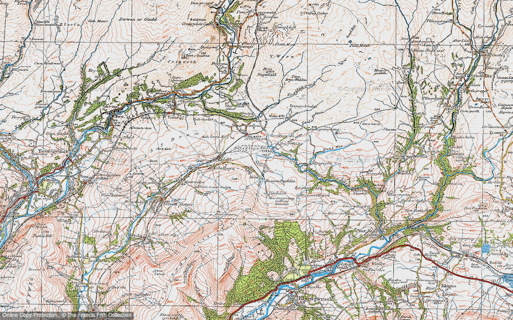 Old Map of Historic Map covering Banwen in 1923