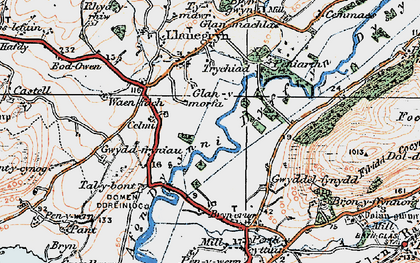 Old map of Dyffryn Dysynni in 1922