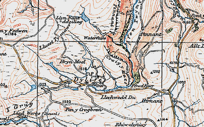 Old map of Banc y Cwn in 1921
