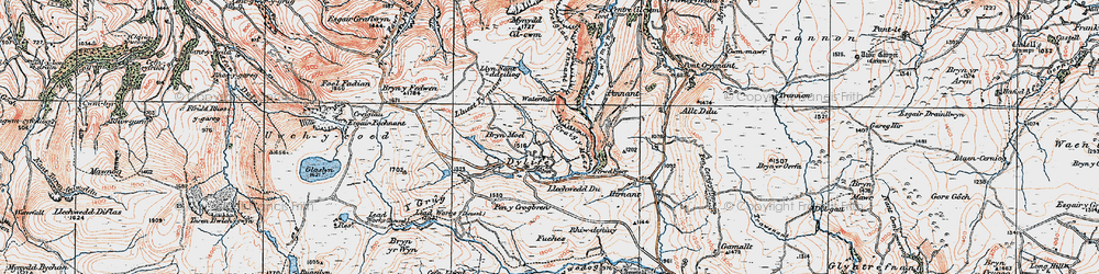 Old map of Dylife in 1921