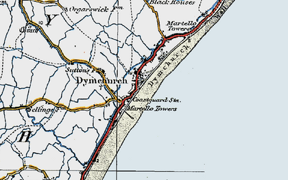 Old map of Dymchurch in 1920