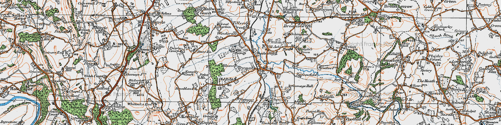 Old map of Dymock in 1919
