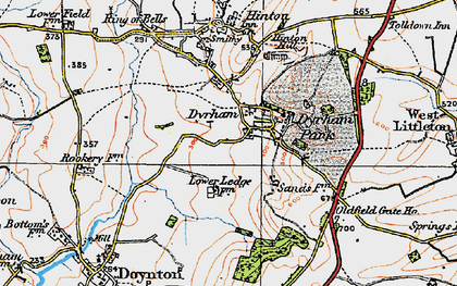 Old map of Dyrham in 1919