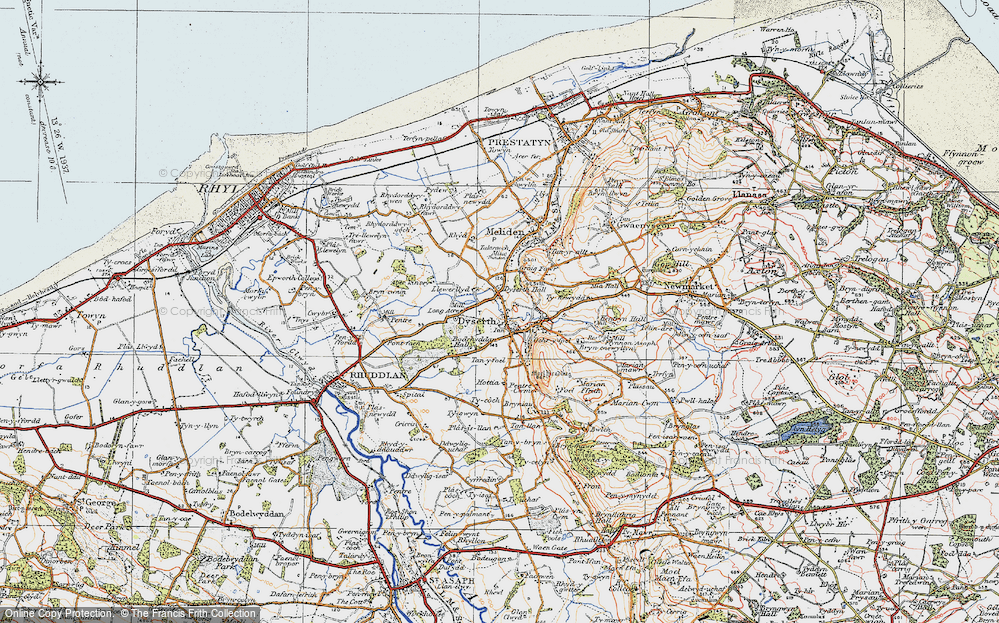 Old Map of Historic Map covering Aberkinsey in 1922
