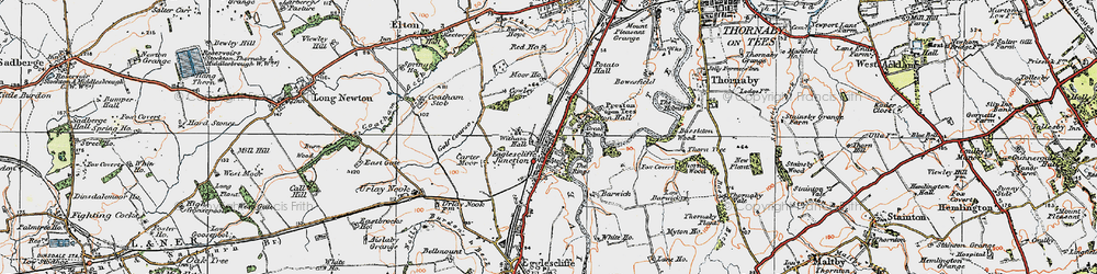 Old map of Eaglescliffe in 1925