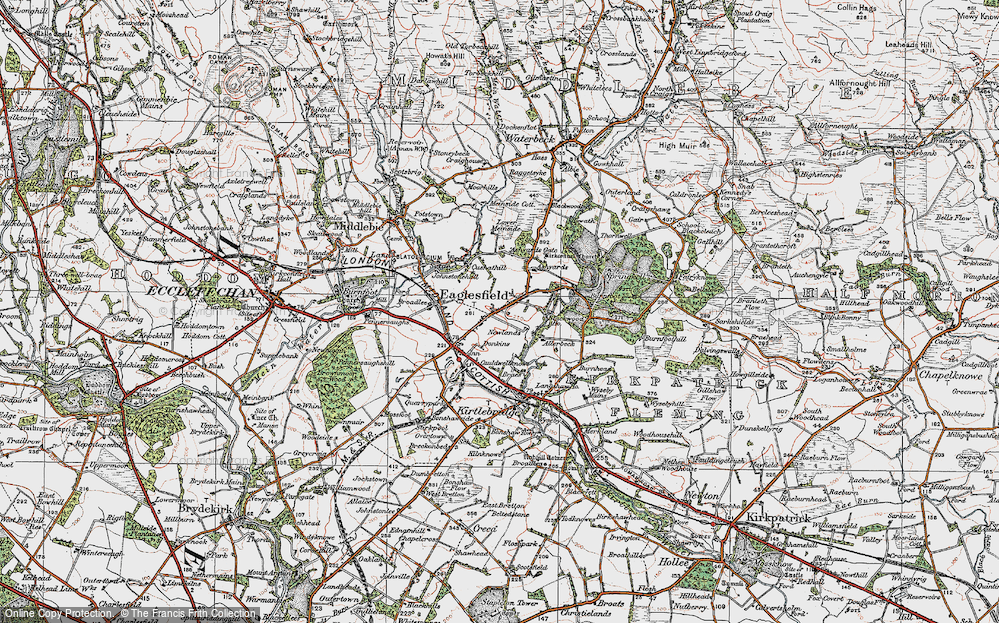 Old Map of Historic Map covering Ashyards Gate in 1925