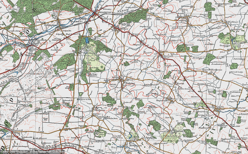 Old Map of Historic Map covering Leyfields in 1923
