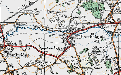 Old map of Eardisland in 1920