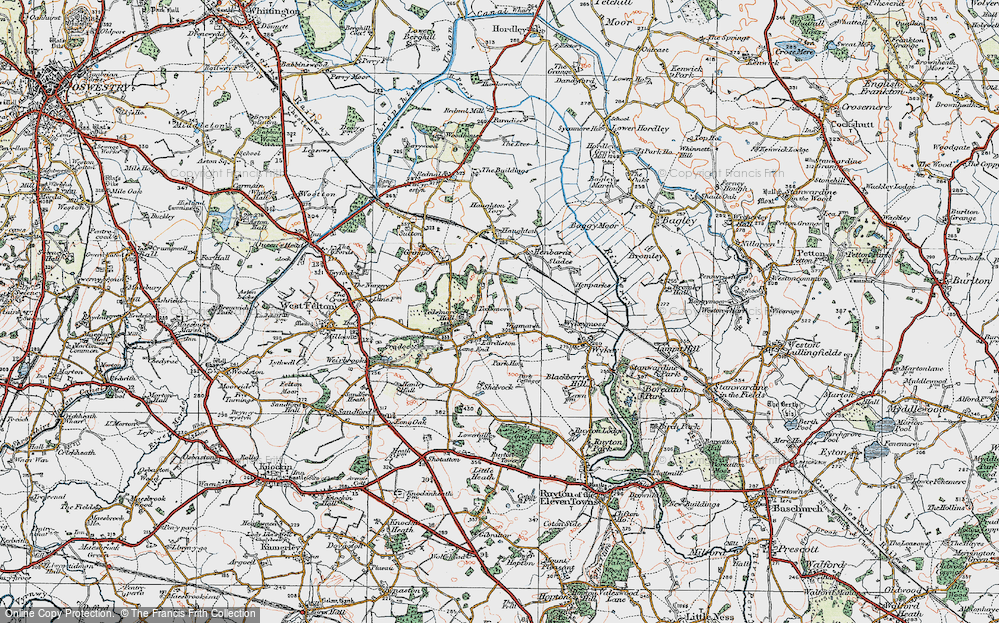 Old Map of Historic Map covering Wykeymoss in 1921
