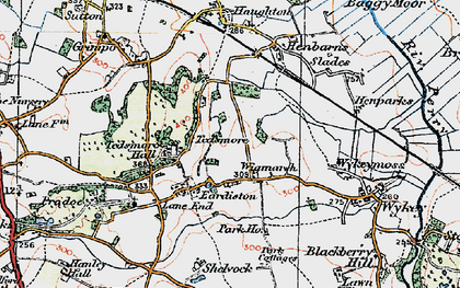 Old map of Wykeymoss in 1921