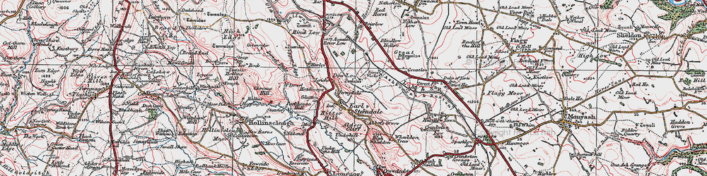 Old map of Earl Sterndale in 1923