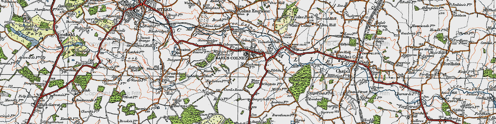 Old map of Earls Colne in 1921