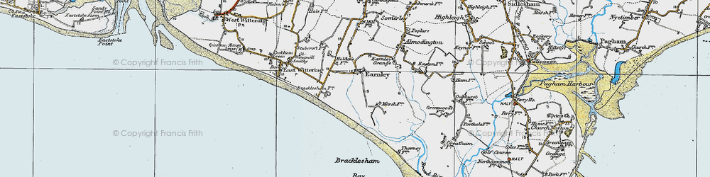 Old map of Almodington in 1919