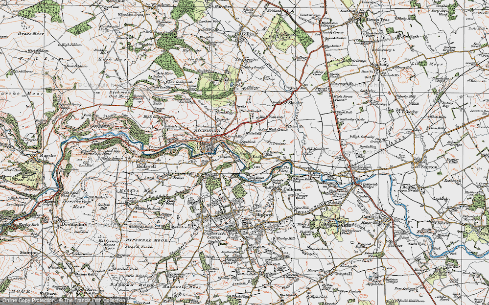Old Map of Easby, 1925 in 1925