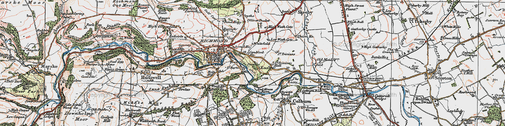 Old map of Easby in 1925