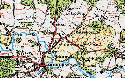 Old map of Easebourne in 1919