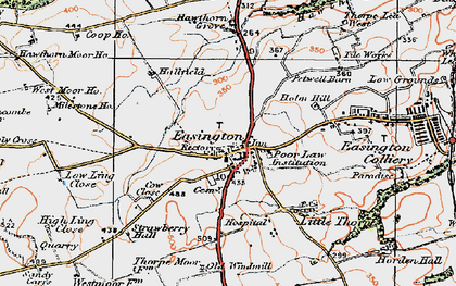 Old map of Easington in 1925